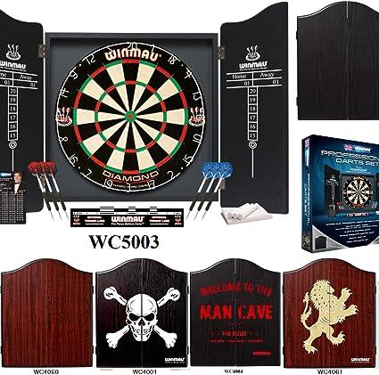 Winmau Darts Set Black Cabinet, Diamond Dartboard and Darts