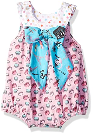 aed2b864bb9 Amazon.com  Jelly the Pug Baby Girls  Bow Romper  Clothing