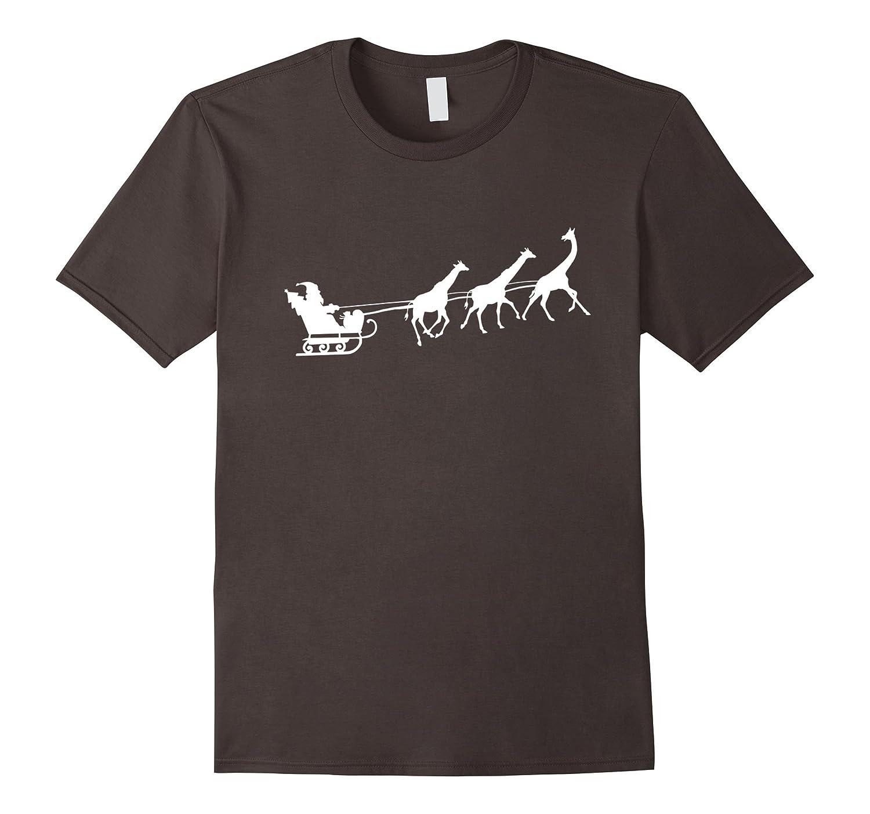African Santa Sleigh Giraffe T-shirt Merry Christmas Gifts-AZP