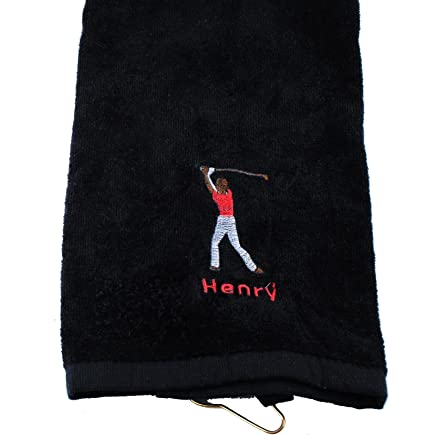 Personalized Golf Towel for men Custom Embroidered with Hanging Ring for  Birthday Fathers Day Gift ( d53a6fa23a01e