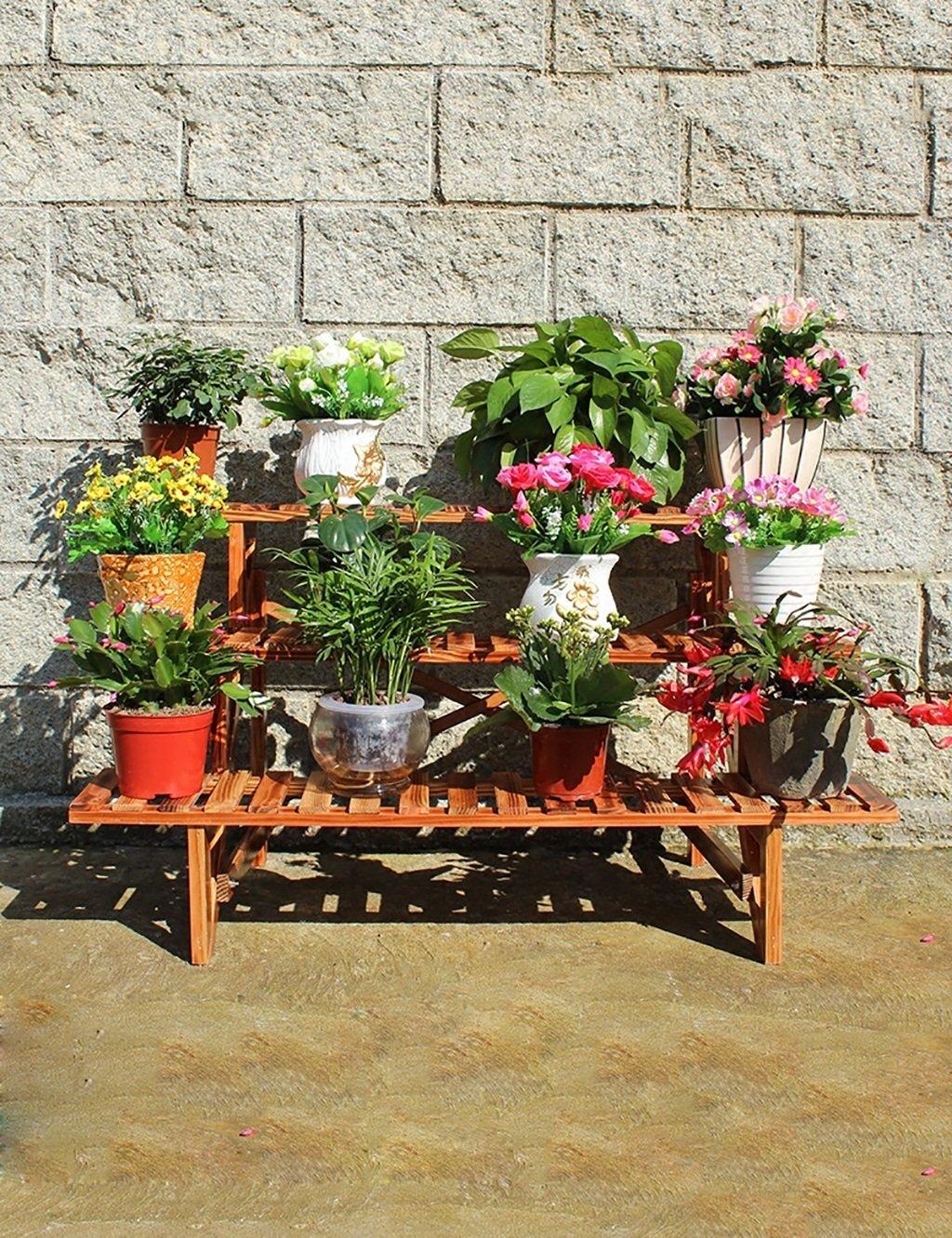 LHP Massivholz-Blumen-Zahnstange Anti-Korrosions-Blume Rack Leiter Blumenregal Verschiedene Basin-Rahmen Balkon Dreistufige Leiter Blume Rack High-End ( farbe : A , größe : 80cm )
