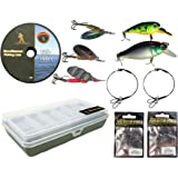 Pike Fishing Spinning Tackle Box Set Including Traces Spinners Plugs Swivels Line Lures