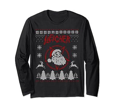 unisex sleigher santa shirt ugly christmas sweater long sleeve tee small black