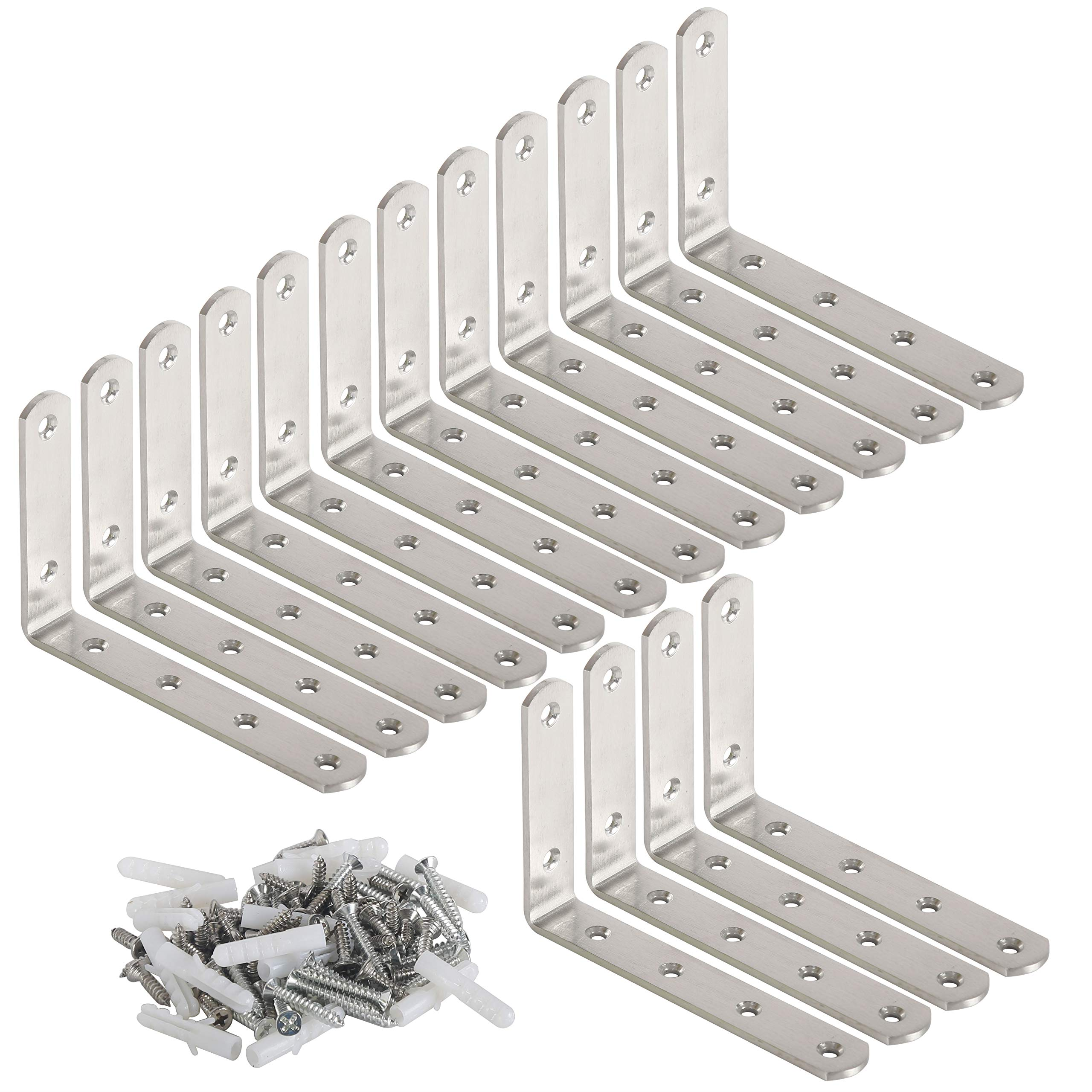 WEBI L Brackets Corner Bracket,90 Degree Steel Corner Brace- 16 Packs, 5'' L X 3'' W,Heavy Duty- Shelf Brackets Right Angle Bracket for Shelf, Wood, Furniture, Shelves, Brush Nickel,Screws Include