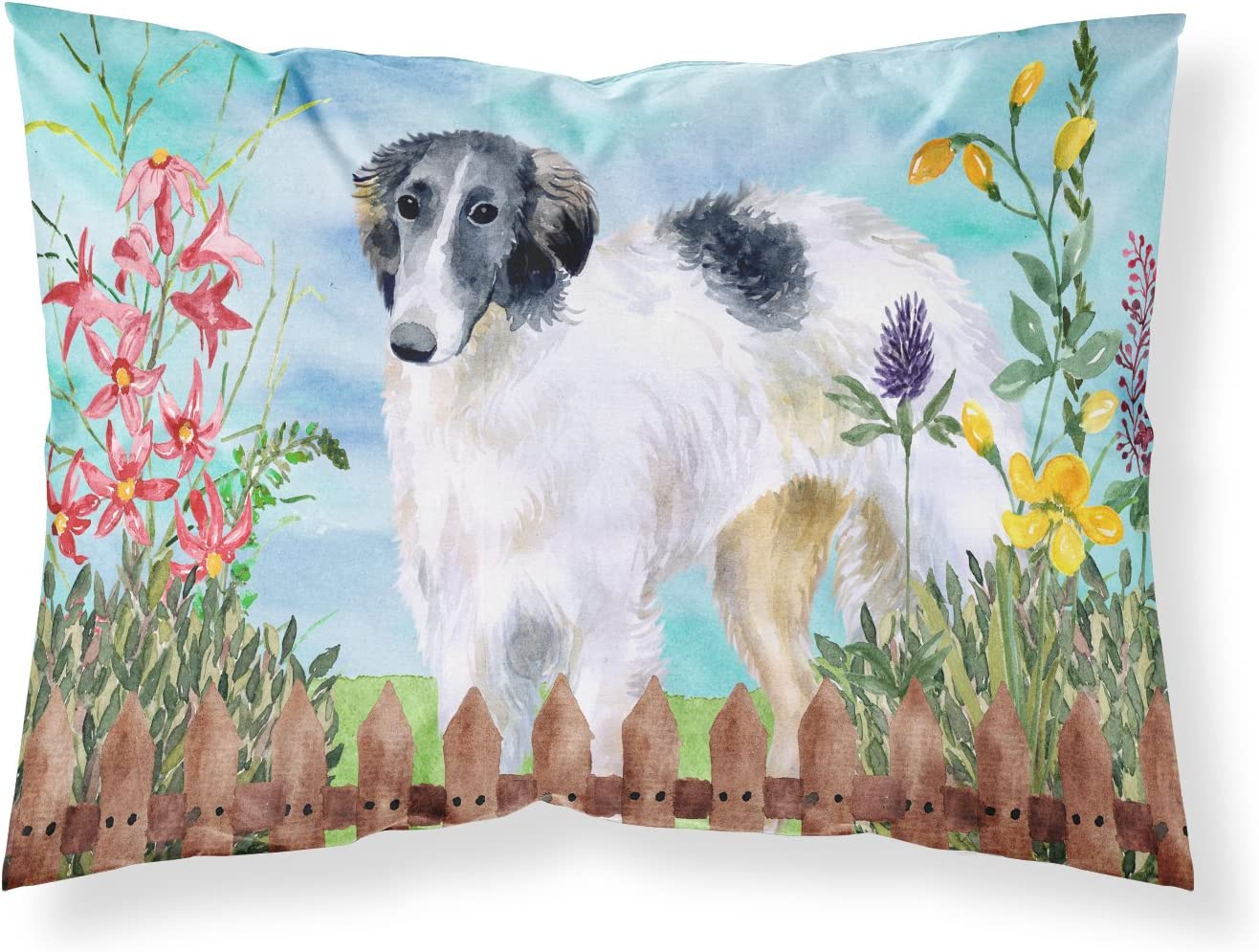 Carolines Treasures CK1234PILLOWCASE Borzoi Spring Fabric Standard Pillowcase Multicolor Standard