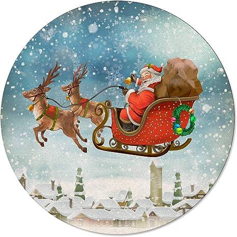 Lamanda Christmas Santa Claus With Sled Elk Round Area Rugs 6ft Indoor Floor Carpet Non Slip Throw Rug For Living Room Bedroom Kids Nursery Sonwing Village Home Kitchen