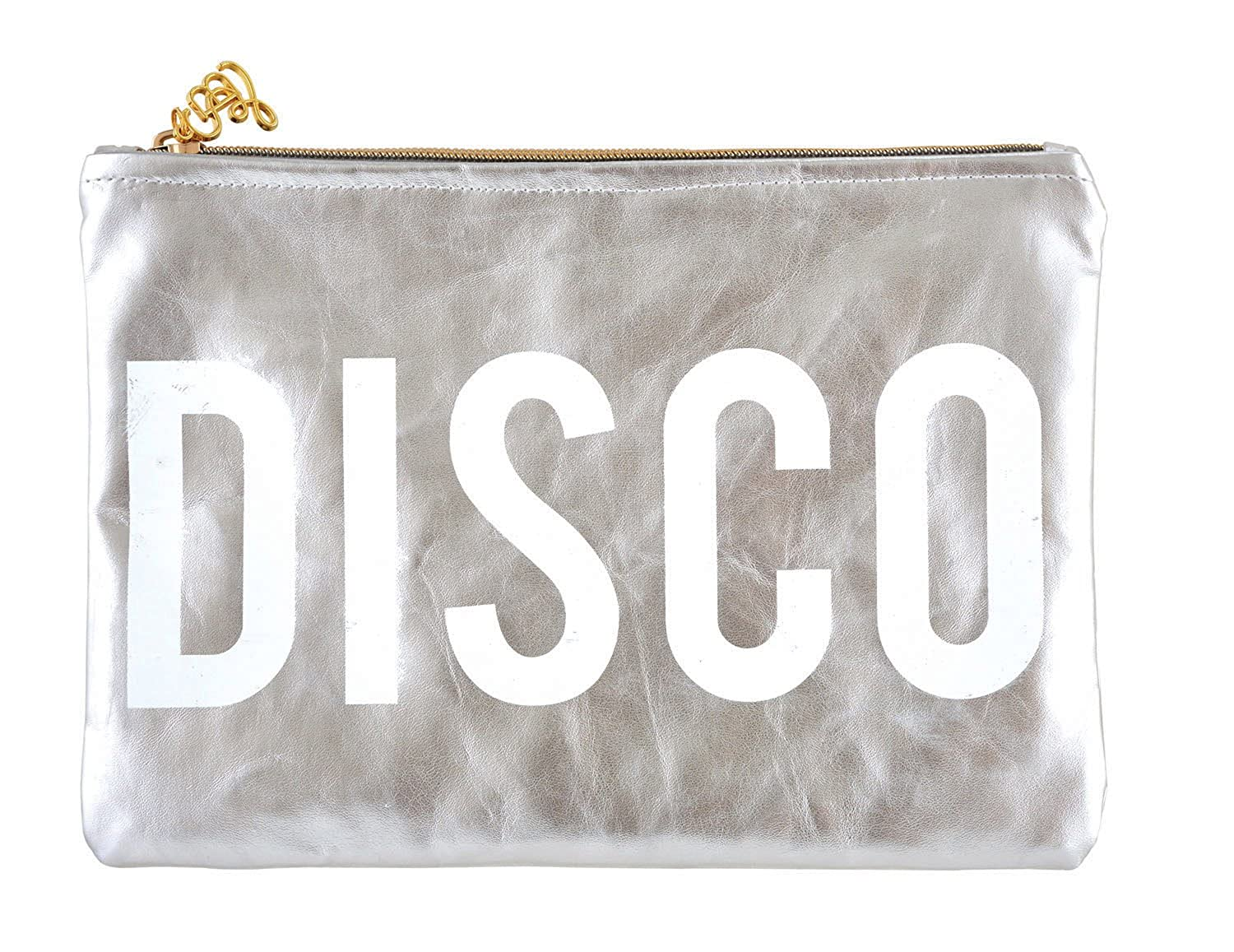 Disco Silver 10 x 7 Inch Polycotton Zippered Clutch Pouch
