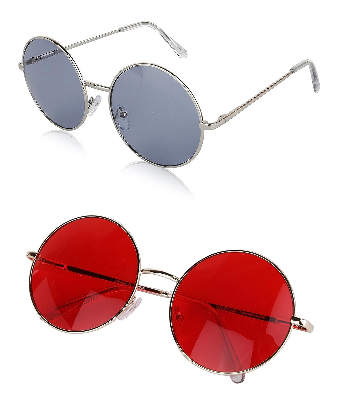 9910d65014 Sunny Pro Round Sunglasses Retro Circle Tinted Lens Glasses UV400  Protection SP-RedGrey-1025