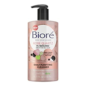 Bioré Rose Quartz Charcoal Daily Purifying Cleanser 6.77 Oz, Face Wash, Naturally Purifies Pores & Energizes Skin, Dermatologist Tested, Non-Comedogenic, Oil Free