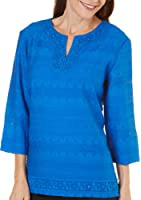 Alfred Dunner Women's Plus Size Lace Trim Tunic, 3/4 Slv