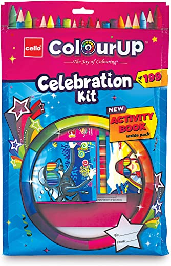 Cello ColourUP Celebration Kit - Mega Gift Pack | 15 Oil Pastels | Sketch Pens | 12 Jumbo Wax Crayons | 8 Assorted Items | Free Activity Book | Hobby Stationery for Kids | Best for Gifting