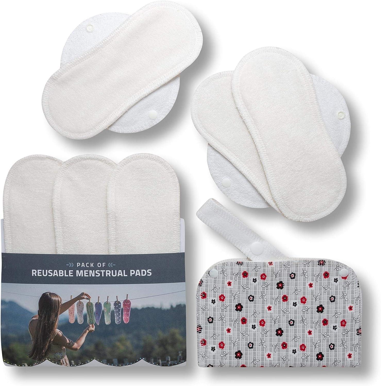 Compresas de tela reutilizables, pack de 6 compresas ecologicas de bambú puro con alas (de tamaños S y M) HECHAS EN LA UE, para menstruación, ...