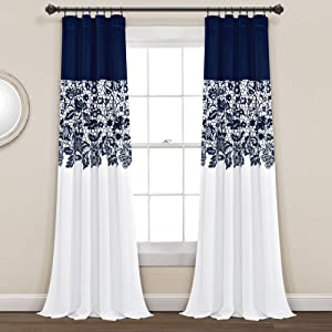 "Lush Decor Navy Estate Garden Print Curtains Room Darkening Window Panel Set for Living, Dining, Bedroom (Pair), 84"" Long x 52"" Wide, 84"" x 52"""