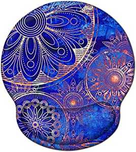 Ergonomic Mouse Pad Wrist Rest Support, ToLuLu Gel Mouse Pads with Non-Slip Rubber Base Memory Foam Mousepad, Mouse Wrist Rest Pad for Laptop Computer Home Office Working Pain Relief, Blue Mandala