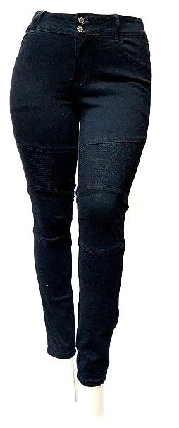 aa9132e422939 Jack david Women s Plus Size Moto Biker Stretch Skinny Denim Jeans Pants  Y1648 (Jet Black