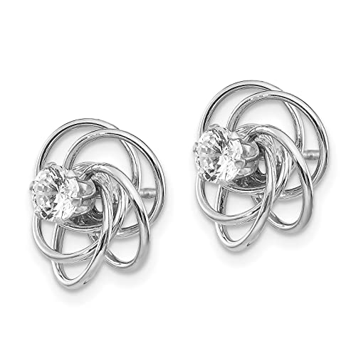 14k White Gold Fancy Knot with Synthetic CZ Stud Earringss Jackets 0.4IN x 0.4IN