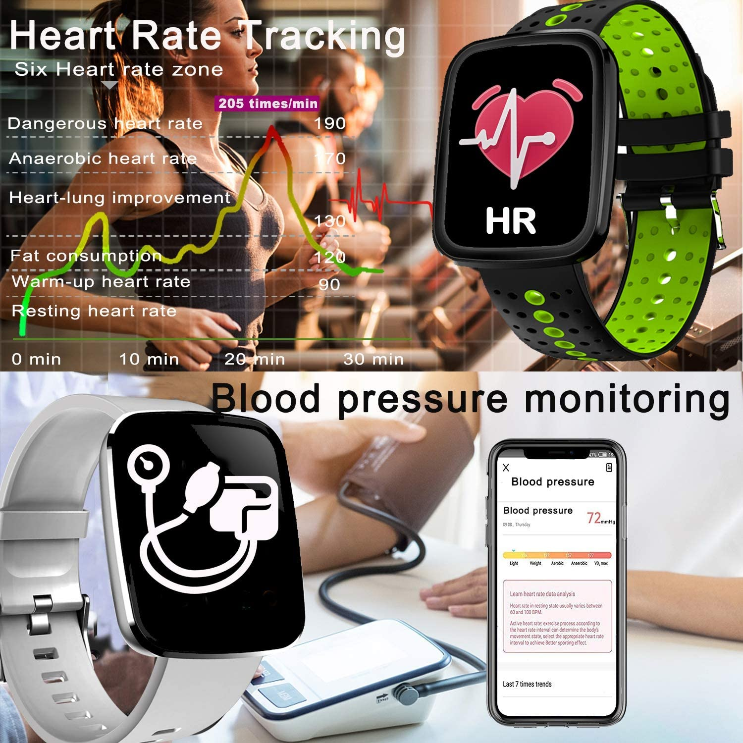 Upgrade Waterproof Smart Watch Fitness Tracker with Heart Rate Monitor Blood Pressure Watch Men Women Birthday Electronic Gifts Outdoor Sport Watch Calorie Step Swim Camp Wrist Watch Sycn Android iOS
