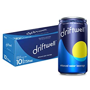 Driftwell, Sip into Relaxation, Enhanced Water Beverage With L-Theanine to help promote relaxation, Magnesium, Blackberry Lavender, 7.5oz Cans, 10 Pack