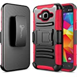 Galaxy J3 Case, Galaxy Sky, Galaxy J3 V / Sol /Amp Prime / Express Prime Case, NageBee [Heavy Duty] Armor Shock Proof Dual Layer [Swivel Belt Clip] Holster with [Kickstand] Combo Rugged Case (Red)