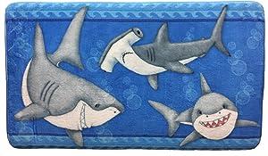 Borders Unlimited Fish 'N Sharks Memory Foam Children's Bathroom Mat, Multicolor