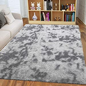 ISEAU Soft Shag Area Rug Modern Indoor Fluffy Rugs, Ultra Comfy Abstract Shaggy Fur Living Room Carpets, Suitable as Bedroom Nursery Rug for Girls and Kids Home Decor, 5ft x 8ft, Grey