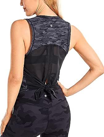 CRZ YOGA Women's Activewear Quick Dry Workout Sleeveless Shirt Mesh Running Tie Back Tank Top