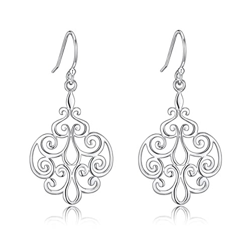 Amazon sterling silver filigree dangle drop chandelier earrings sterling silver filigree dangle drop chandelier earrings for sensitive ears by renaissance jewelry mozeypictures Images