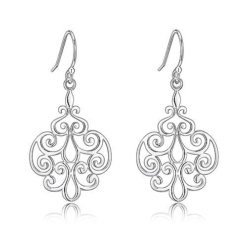 Amazon sterling silver filigree dangle drop chandelier earrings sterling silver filigree dangle drop chandelier earrings for sensitive ears by renaissance jewelry aloadofball Choice Image