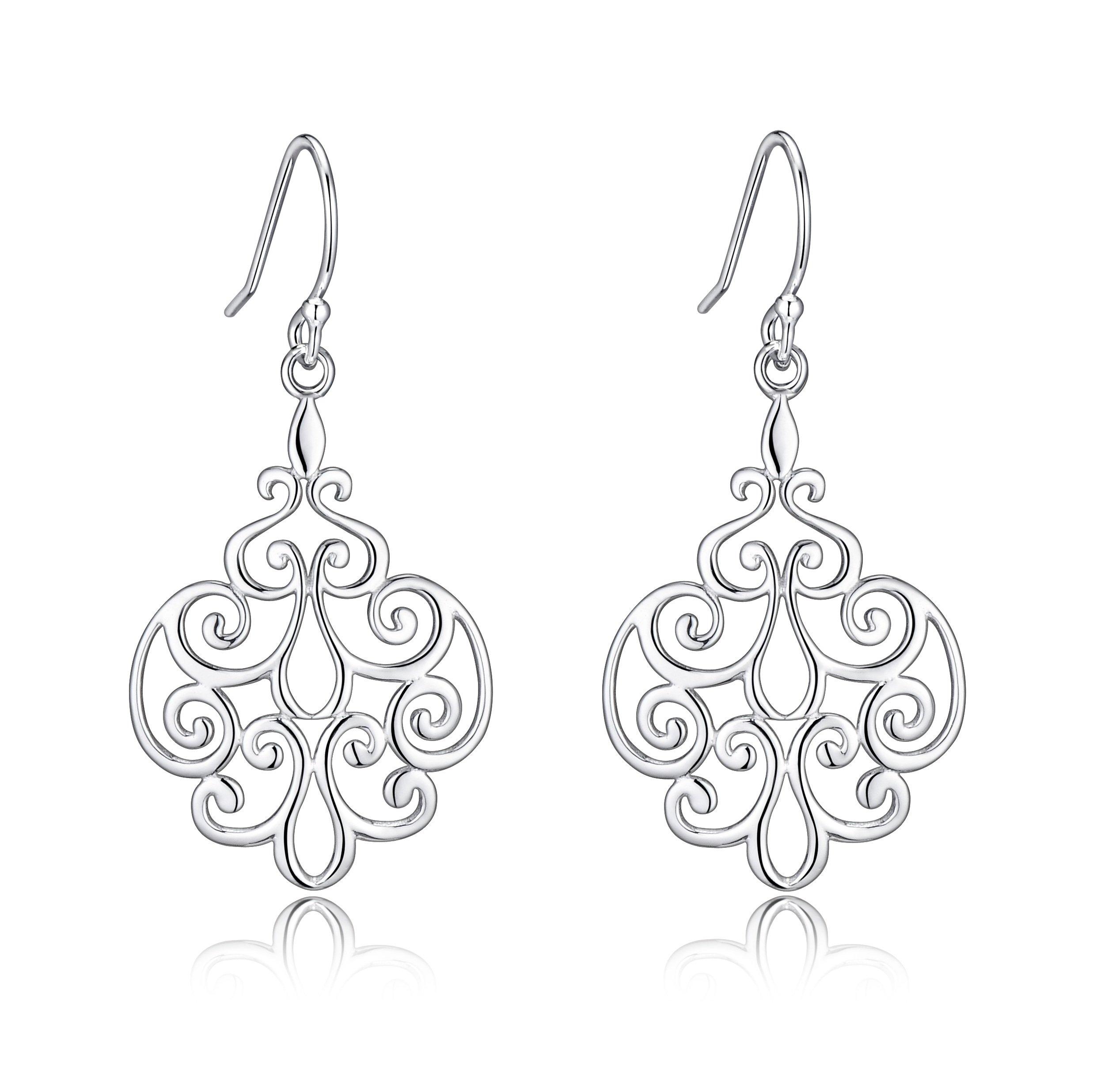 Sterling Silver Filigree Dangle Drop Chandelier Earrings For Sensitive Ears By Renaissance Jewelry by RSJewel