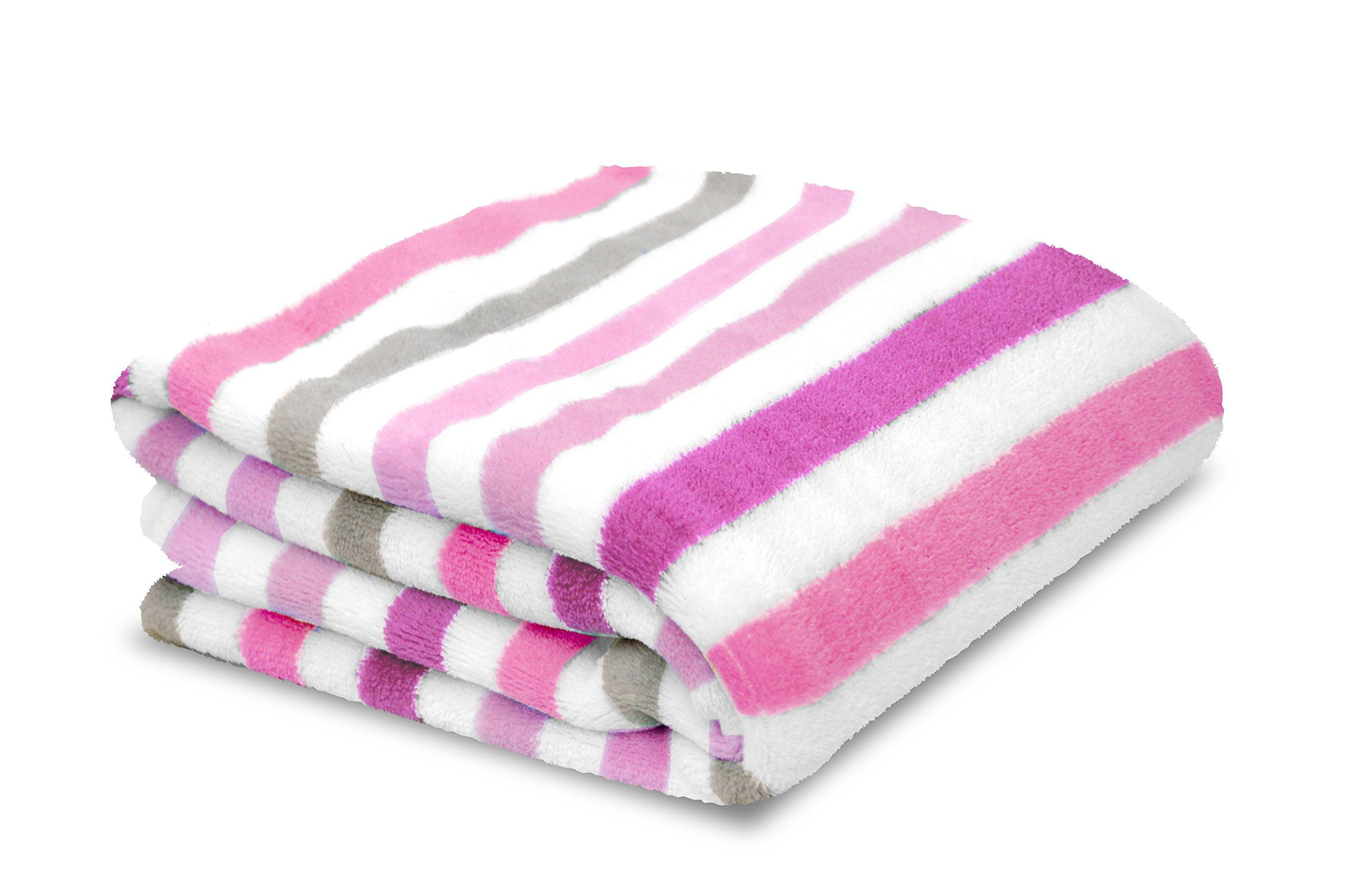 Little Starter Plush Toddler Blanket, Pink Stripe