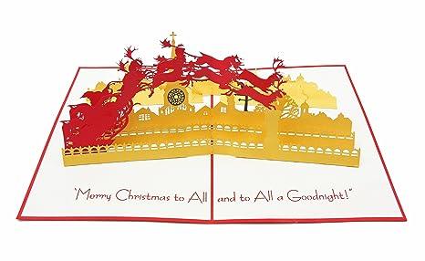 Grazie E Buon Natale.Poplife Cards Babbo Natale E Slitta Cartolina D Auguri 3d