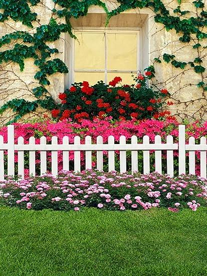 A.Monamour Verde Hierba Rosa Flores Blanco Cerca Casa Jardín Frente Exterior Estudio Estudio Fotográfico Fotografía Fondos Vinilo: Amazon.es: Electrónica