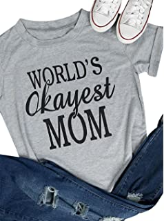 a2ce1f4ec DUTUT Women Worlds Okayest Mom Letter Print T-Shirt Short Sleeve Crew Neck  Casual Tops