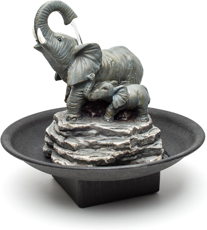 Relaxus Decor Desk Elephant Watering Hole Fountain - Water Fountain : Garden & Outdoor