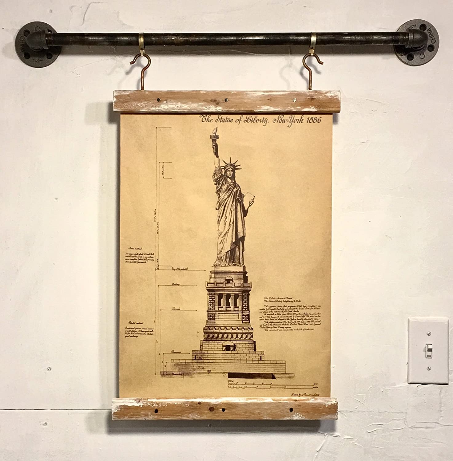 Amazon wood signs industrial pipe rustic wall decor statue of amazon wood signs industrial pipe rustic wall decor statue of liberty blueprint art print wall hanging handmade malvernweather Images