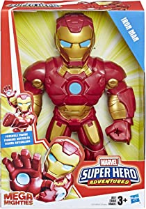 "Playskool Heroes Marvel Super Hero Adventures Mega Mighties Iron Man Collectible 10"" Action Figure, Toys for Kids Ages 3 & Up"