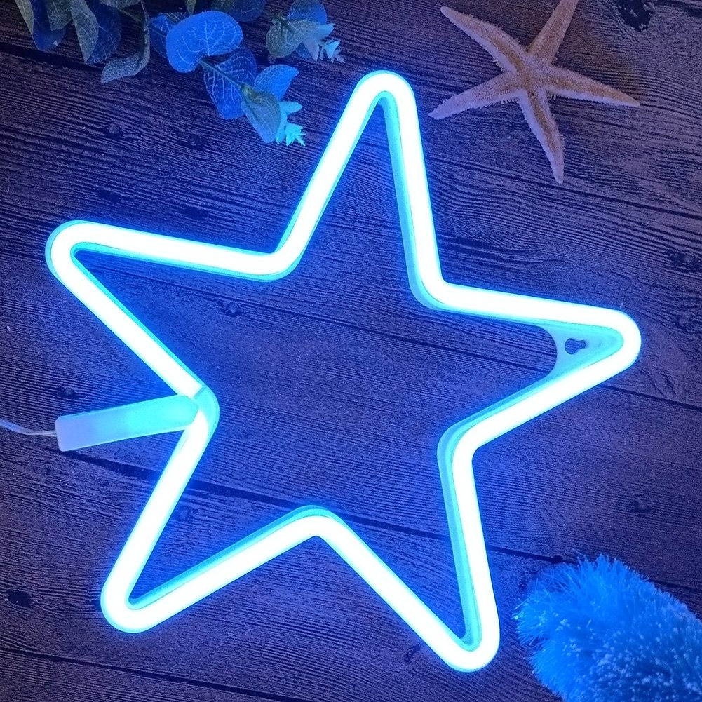 Neon Lights LED Star Signs Light Neon Art Decorative Lights Wall Decor for Children Baby Room Christmas Wedding Party Decoration (blue)