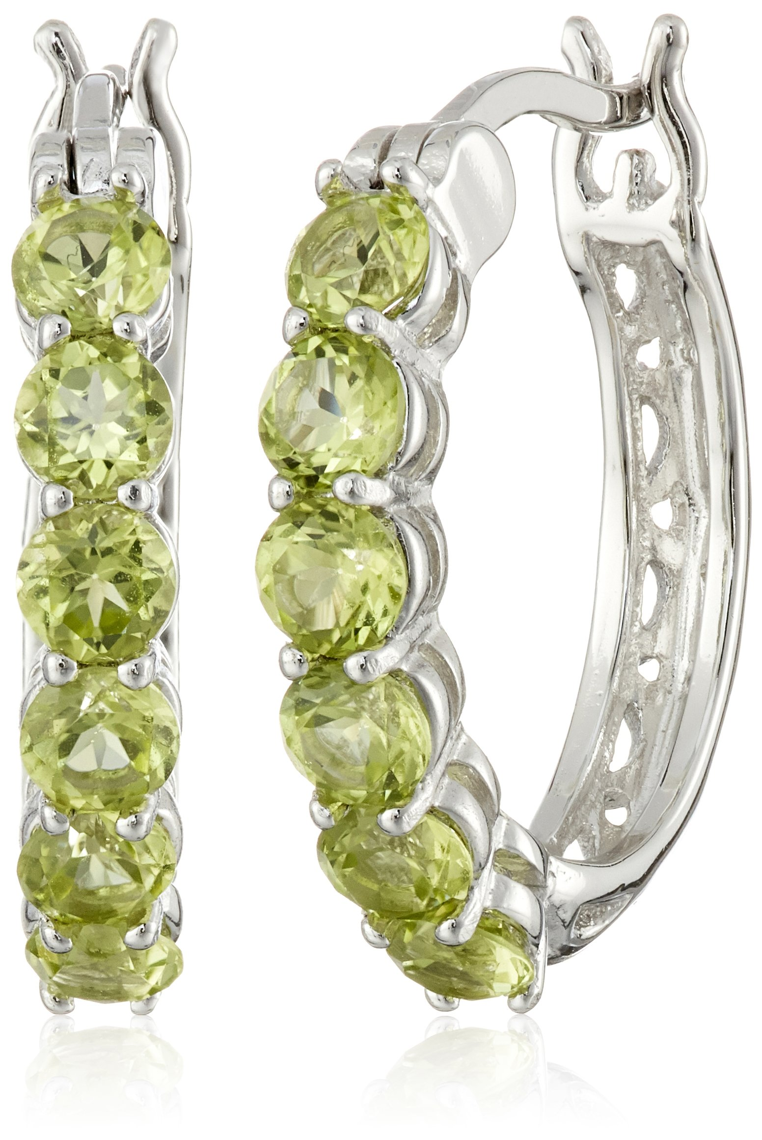 Sterling Silver Genuine Peridot Hoop Earrings