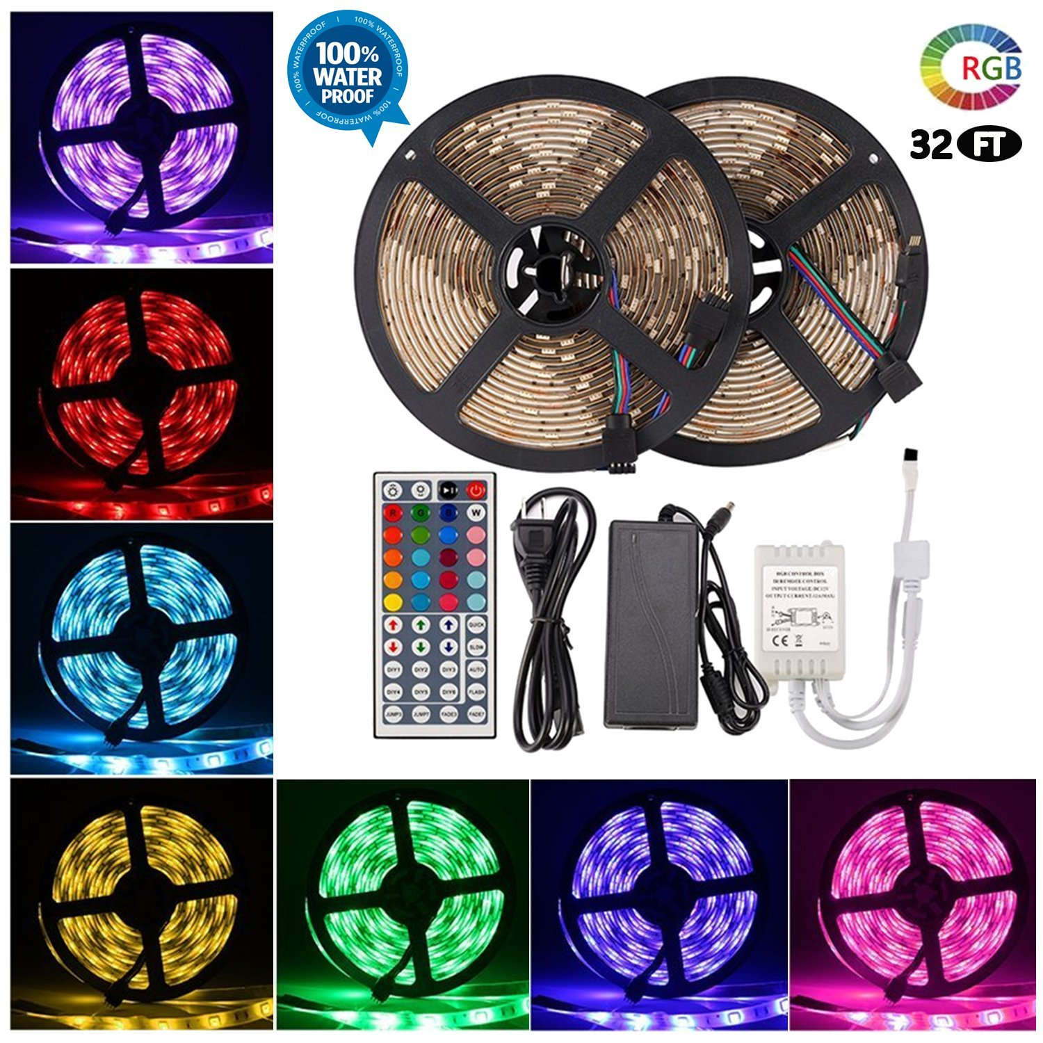 LED Strip Lights - Waterproof Led Tape Lights - Dimmable Multicolored LED Lights Kit 32.8ft/10m, 300LEDs, 5050RGB with 44Key Remote Controller and Power Adapter for Home, Kitchen, Cabinet Decoration by DOPTIKA (Image #1)