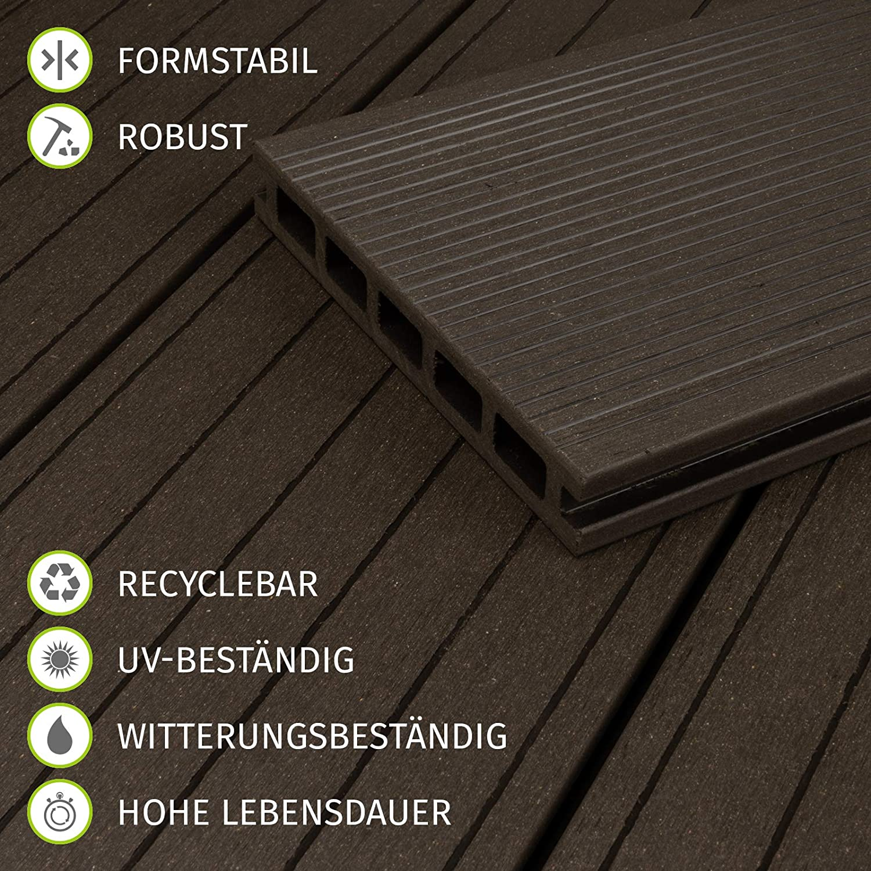 HORI/® WPC-Terrassendiele Komplettset Aktion Hohlkammer Braun I Fl/äche 5 m/² I 2,90 m Dielenl/änge