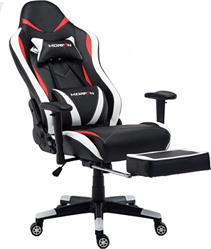 MORFAN Swivel Gaming Chair Normal Size PU Leather Racing Style Office Chair