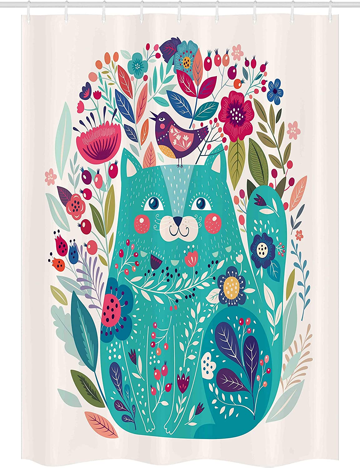 """Ambesonne Cat Stall Shower Curtain, Kitty Surrounded by Birds Flowers Ladybugs Inspirational Folk Baby Theme, Fabric Bathroom Decor Set with Hooks, 54"""" X 78"""", Green Pink"""