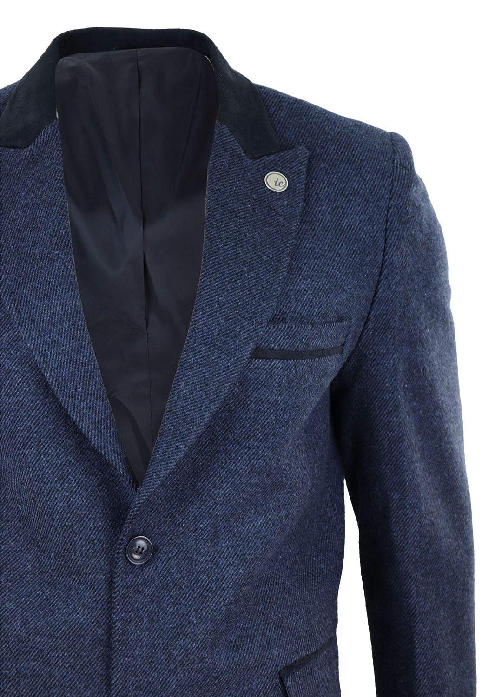TruClothing.com Mens 3//4 Long Crombie Overcoat Jacket Herringbone Tweed Coat Peaky Blinders Fit