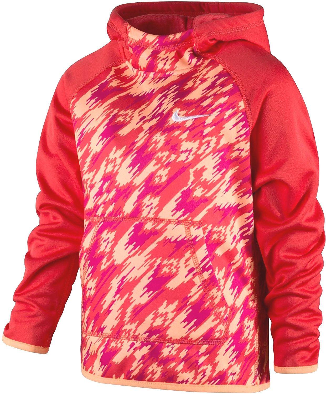 NIKE Girl's Therma Fit Pullover Hoodie 4T Ember Glow Orange