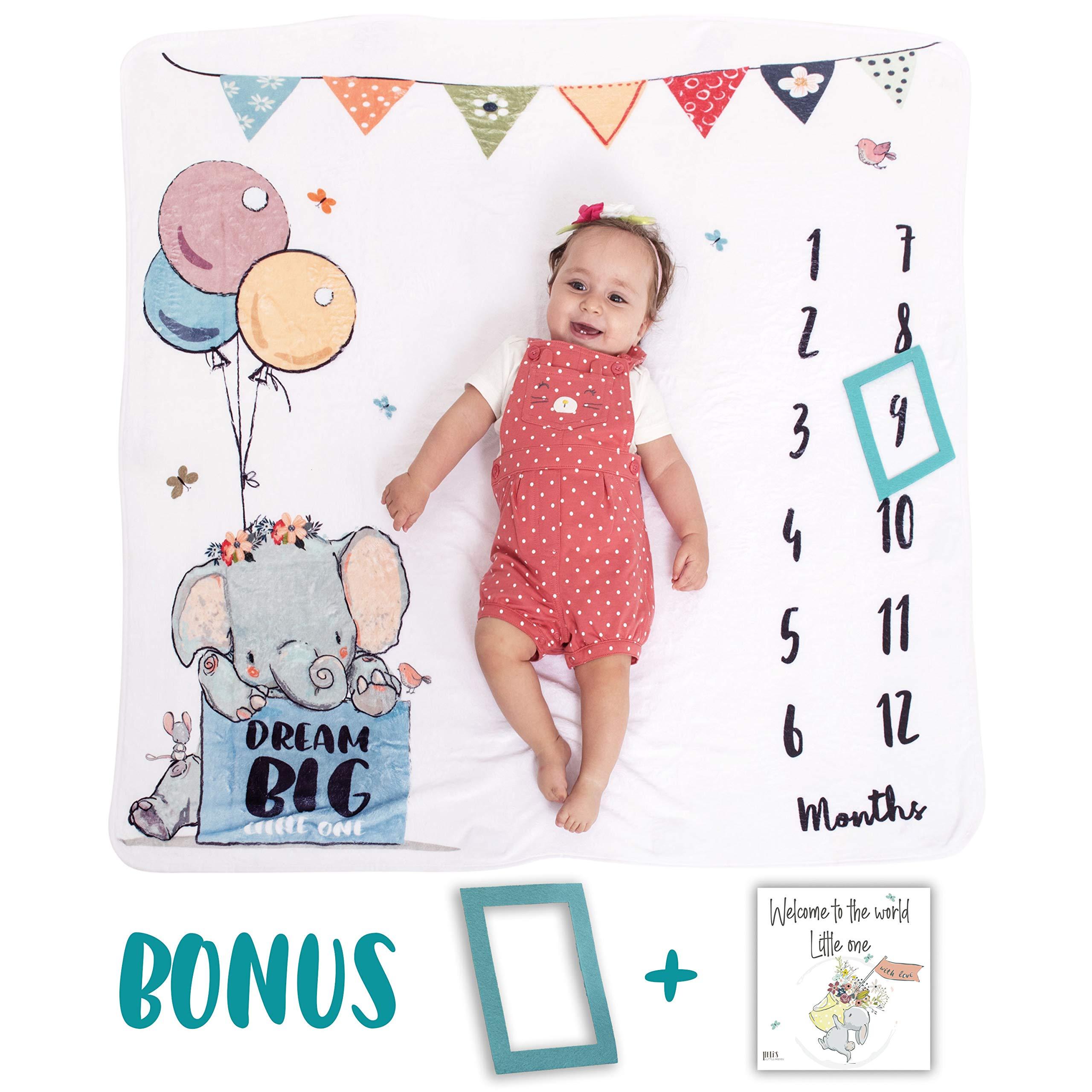 Baby Monthly Milestone Blanket   Premium Soft Plush Fleece   Photo Prop for Newborn Boy & Girl   Unique Animal Design  47'' x 47''  Newborn Unique Gifts   New Moms Baby Shower Gift