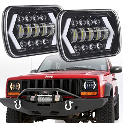 "7x6"" inch Halo LED Headlights, OVOTOR 5x7 inch Square LED Headlamp with Arrow Angel Eyes DRL Turn Signal Light Replaces H6054 H5054 H6054LL 69822 Fit Trucks Jeep Wrangler XJ YJ Sedans GMC: Automotive"