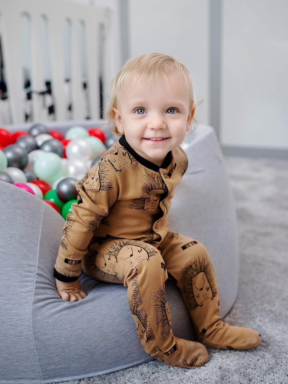 100/% Eco Cotton Pacco da 3 Mix Colori Sibinulo Bambino Bambina Pagliaccetto con i Piedi Taglie da 0 a 24 Mesi 9-24 con Piedini Antiscivolo