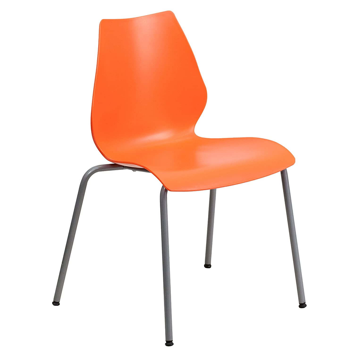 Flash Furniture HERCULES Series 770 lb. Capacity Orange Stack Chair with Lumbar Support and Silver Frame