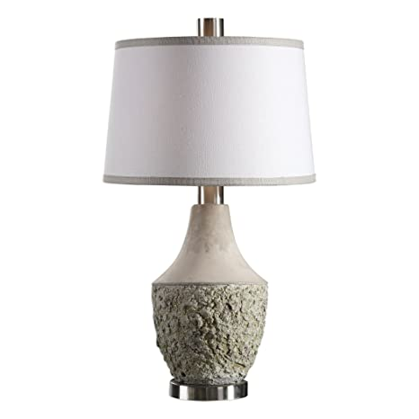 Rustic Textured Concrete Sage Gray Table Lamp Modern Ivory Green