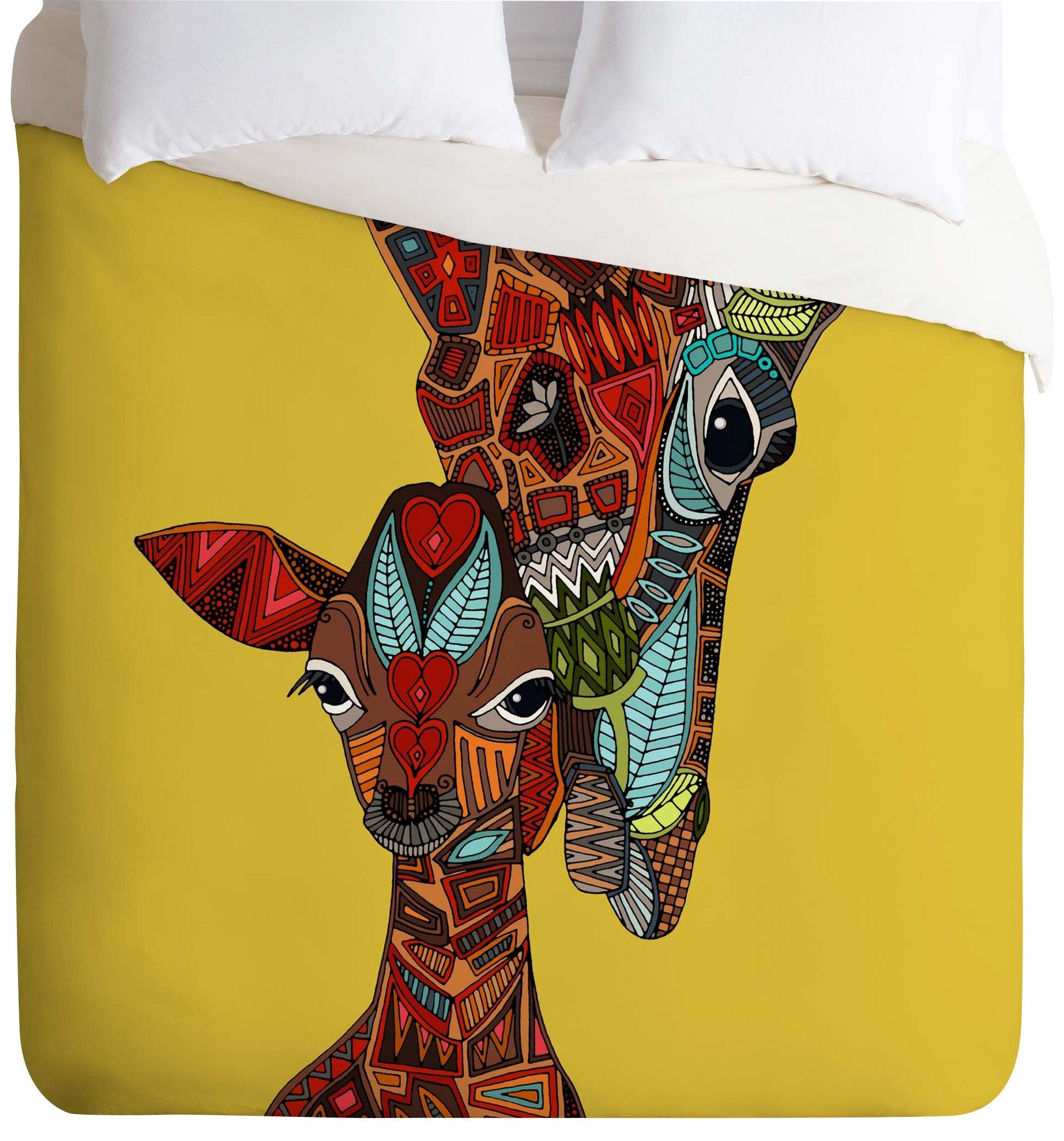 Deny Designs Sharon Turner Giraffe Love Ochre Duvet Cover, Queen